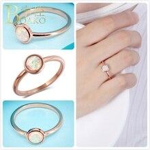 Delicate Opals Rings For Women Wedding Rose Gold Fire Opal Engagement Promise Ring Girl Gift Australia Gem Stone Ring Female K5 delicate engraved faux gem jewelry ring for men