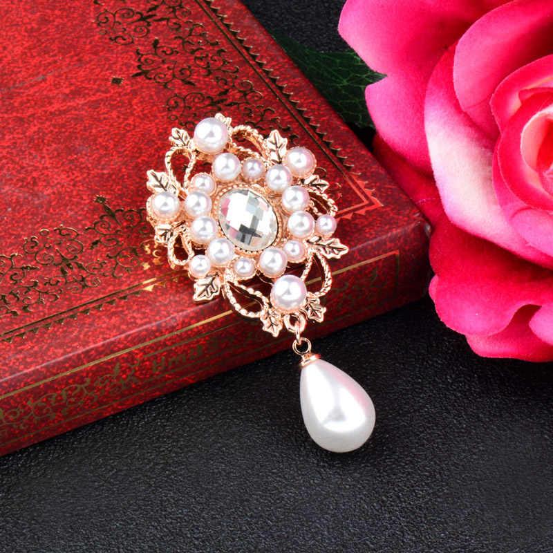 Sinleery Elegan Imitasi Mutiara DROP Hollow Bunga Bros Pin untuk Wanita Bridal Pernikahan Bouquet Dekorasi Aksesoris XZ039 SSD