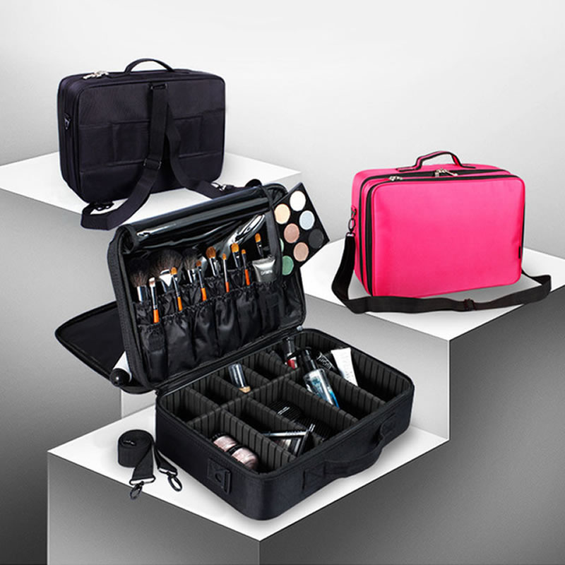 Women Professional Big Large Makeup Box Suitcase Make Up Cosmetic Bag Organizer Storage Case Zipper Toiletry Wash Beauty Pouch