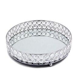 Zilveren Ronde Spiegel Decoratieve Cosmetica Opbergdoos Lade  Bruiloft Woondecoratie Rack-in Kommetjes en borden van Huis & Tuin op