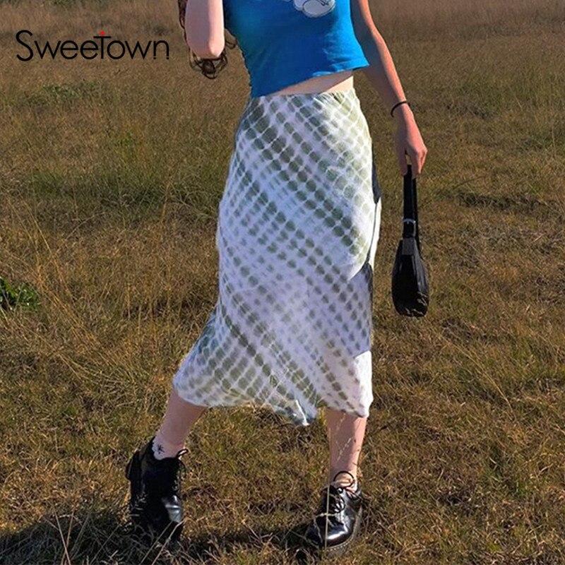 Sweetown Sweety Mädchen Plaid Tie Dye Midi Rock Frau Adrette Nette Kawaii Kleidung Hohe Taille Y2K Mode 90s boho Röcke