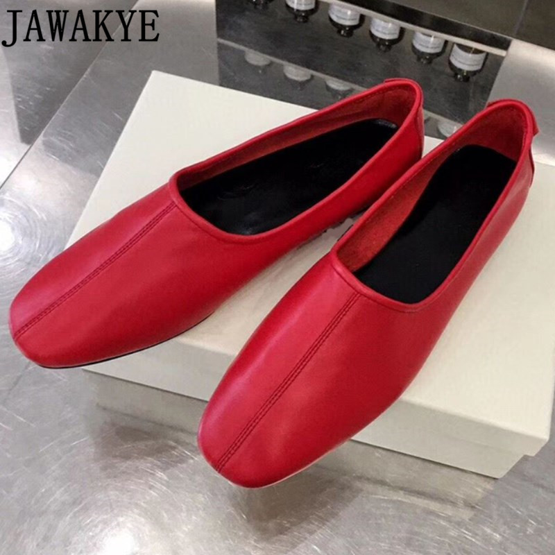 Spring Genuine Leather Flat Heel Shoes For Women Runway Style Ladies Casual Loafers Ballet Shoes Grandma Shoes Zapatos Mujer
