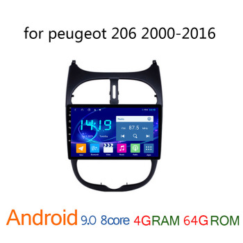 car multimedia player for peugeot 206 2000 2016 android 4G + 64G IPS peugeot206 radio coche stereo autoradio GPS navigator WIFI image