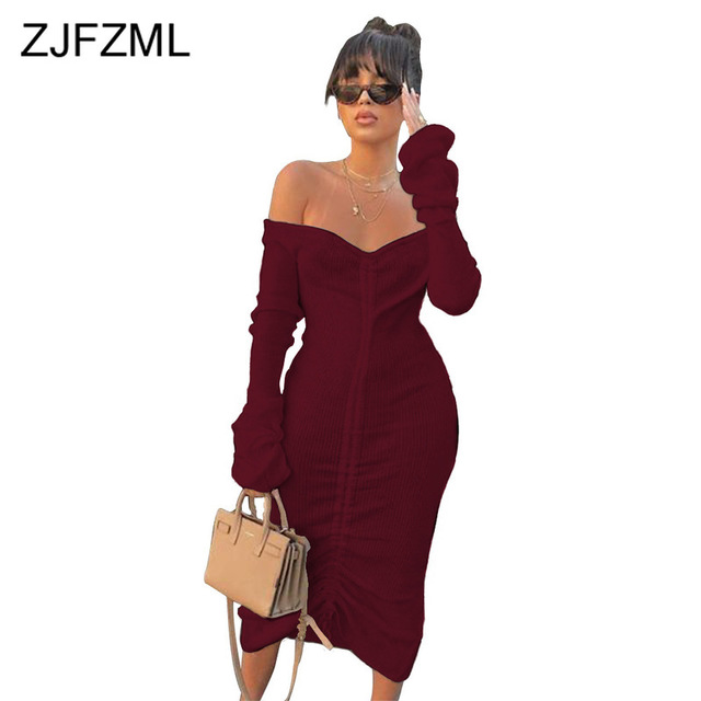 Front Drawstring Sexy Bandage Dresses Women White Slash Neck Long Sleeve Club Party Dress Autumn Winter Off Shoulder Maxi Dress 2