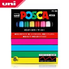 Mitsubishi uni posca PC 3M tinta marcador fino Tip 0.9mm 1.3mm 8 cores/caixa arte marcadores material de escritório e escola