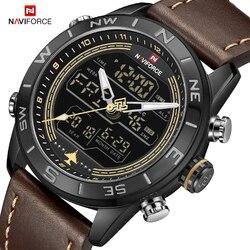 Luksusowa marka NAVIFORCE męski zegarek wojskowy zegarek wojskowy LED cyfrowe wodoodporne zegarki sportowe kwarcowy zegar Relogio Masculino w Zegarki kwarcowe od Zegarki na
