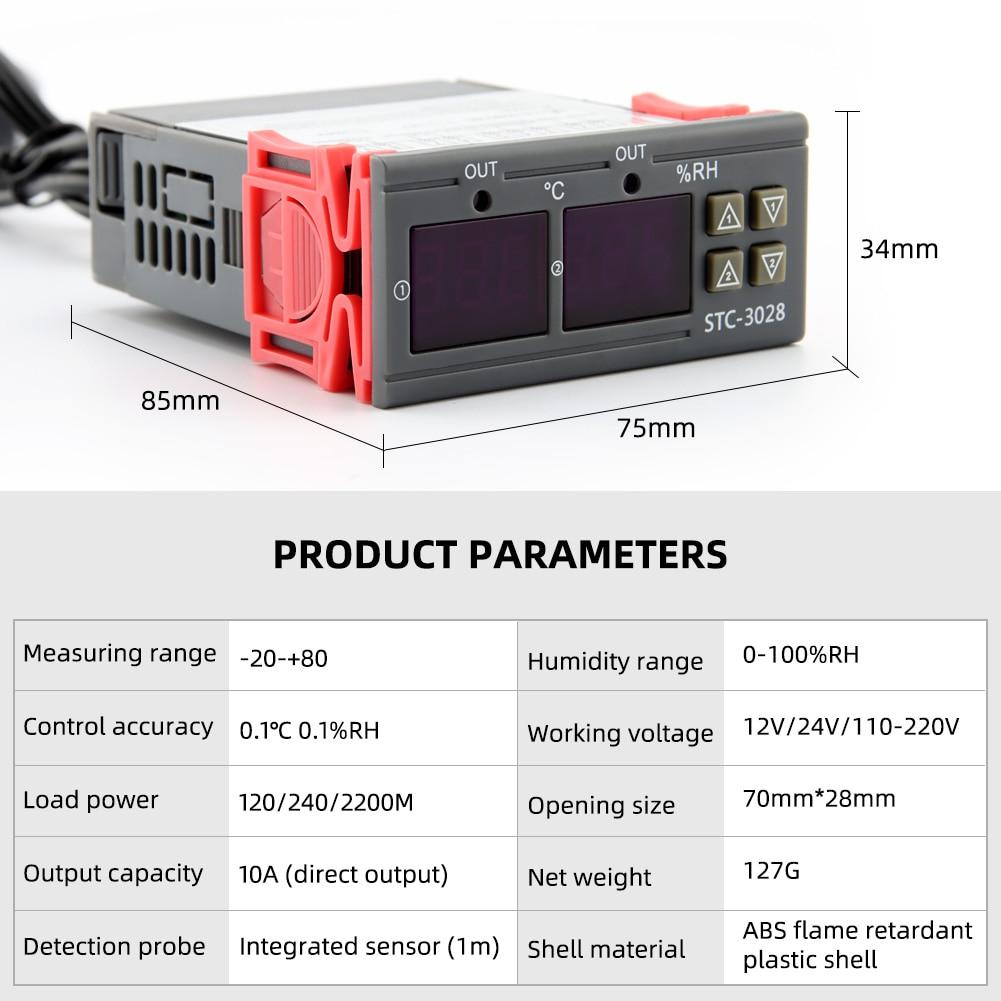 Termostato digital controle de temperatura umidade STC-3028