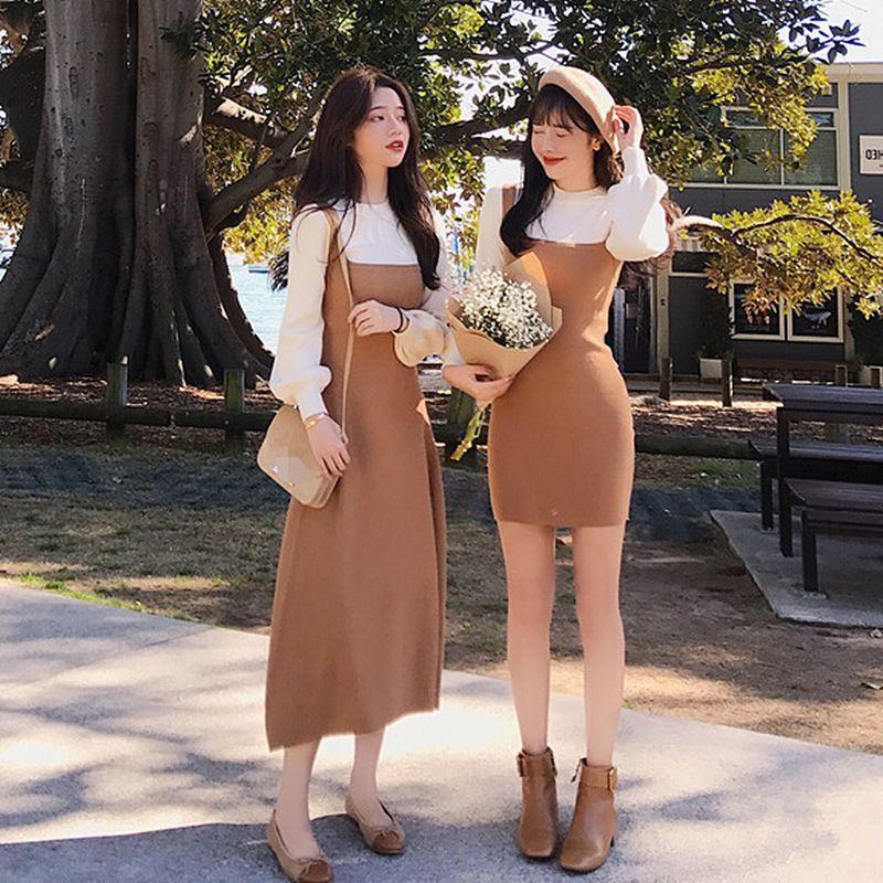 Autumn Winter New Dress Elegant O-neck Long Sleeve Pullover Slim Patchwork Lantern Sleeve Straight Dresses