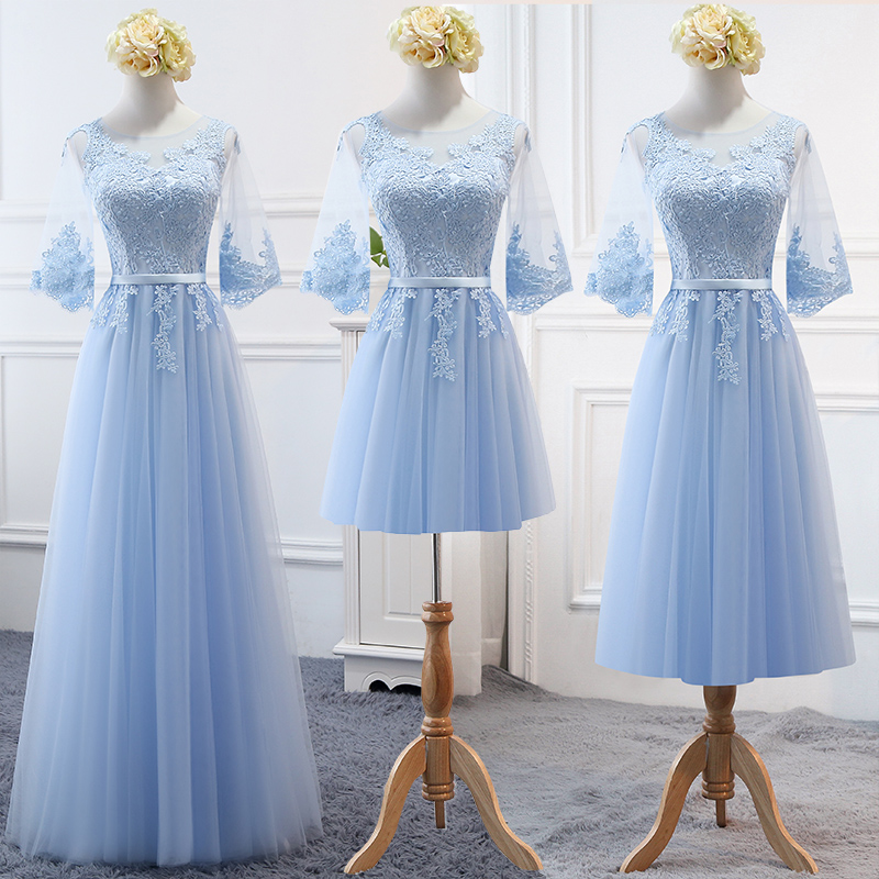 MNZ-17T#Embroidered Sky Blue Bridesmaid's Dresses Long Lace Up Middle Sleeve Marriage Sister Christmas Dress Girls Wholesale
