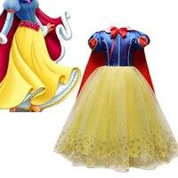 4-10 jahre Phantasie Cosplay Prinzessin Schnee Weiß Kostüm Mädchen Kleid Für Urlaub Halloween Kleid Weihnachten Rolle-Spielen kid Mädchen Kleidung