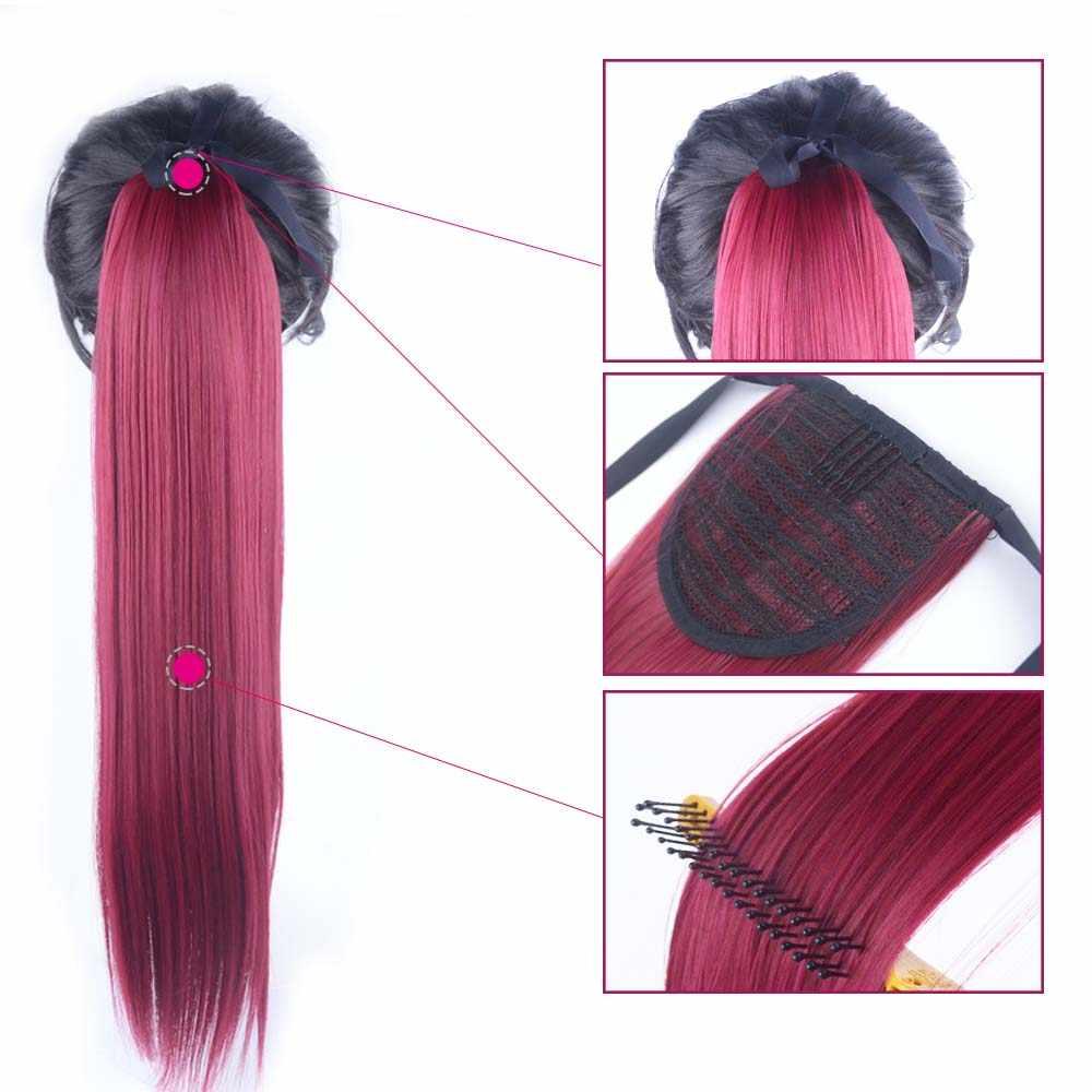 22 Inch Lange Gerade Pferdeschwanz Kordelzug Synthetische frauen Perücke Clip In Haar Extensions Wärme Beständig Gefälschte Haar