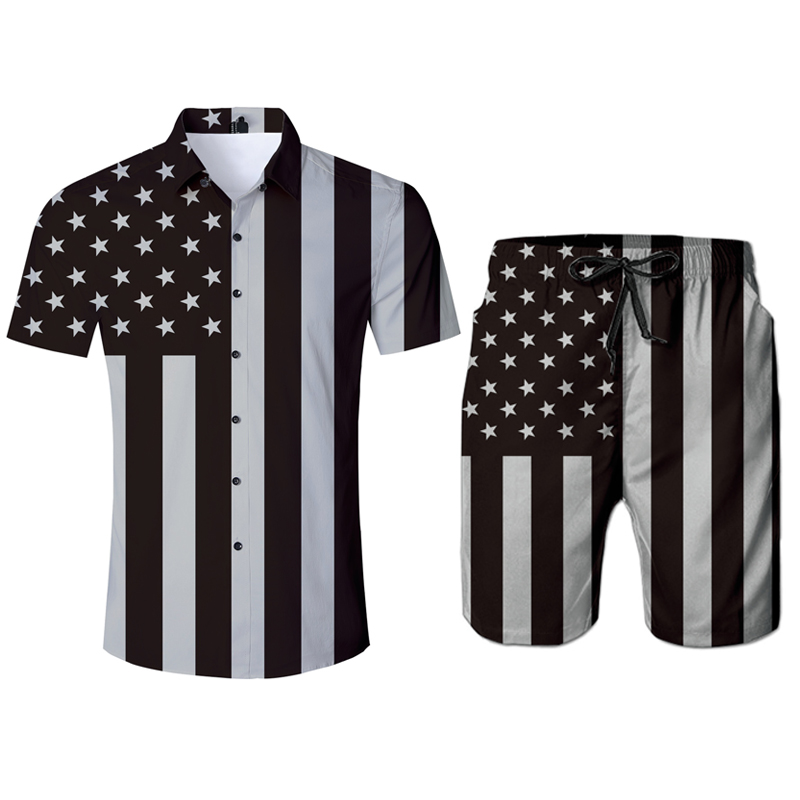 Men Sexy 3D Shirt Striped American Flag Blouse Shorts Two Piece Set Casual Loose Streetwear Hip Hop Tracksuit Outfits 2pc Set