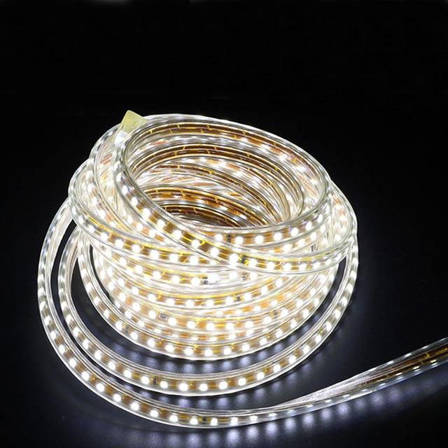 220V wodoodporna taśma Led światła z wtyczką ue 2835 SMD elastyczna lina światła, 120 leds/m wysokiej jasności odkryty kryty ściemniacz wystrój