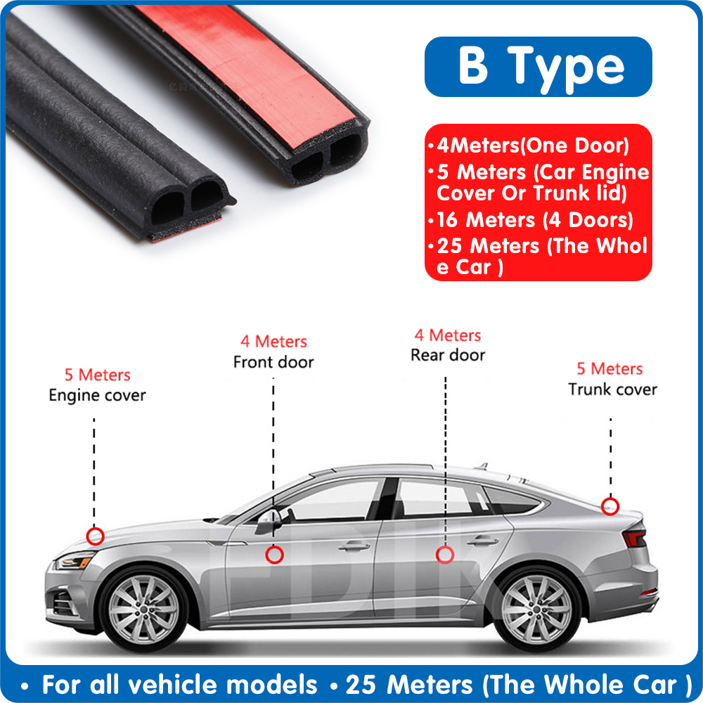 1-25 Meters Car Door Rubber Seal Strip B-type Auto Door Seal Sticker Sound Insulation B Shape Weatherstrip Car Trunk Seal Strips