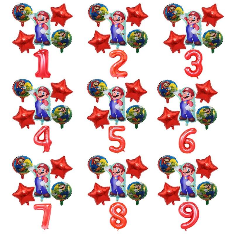 6pcs Super Mario Balloons 32 Inch Number Foil Balloon Boy Girl Toy Super Mario Bros Birthday Party Blue Red Balloon Set Decor