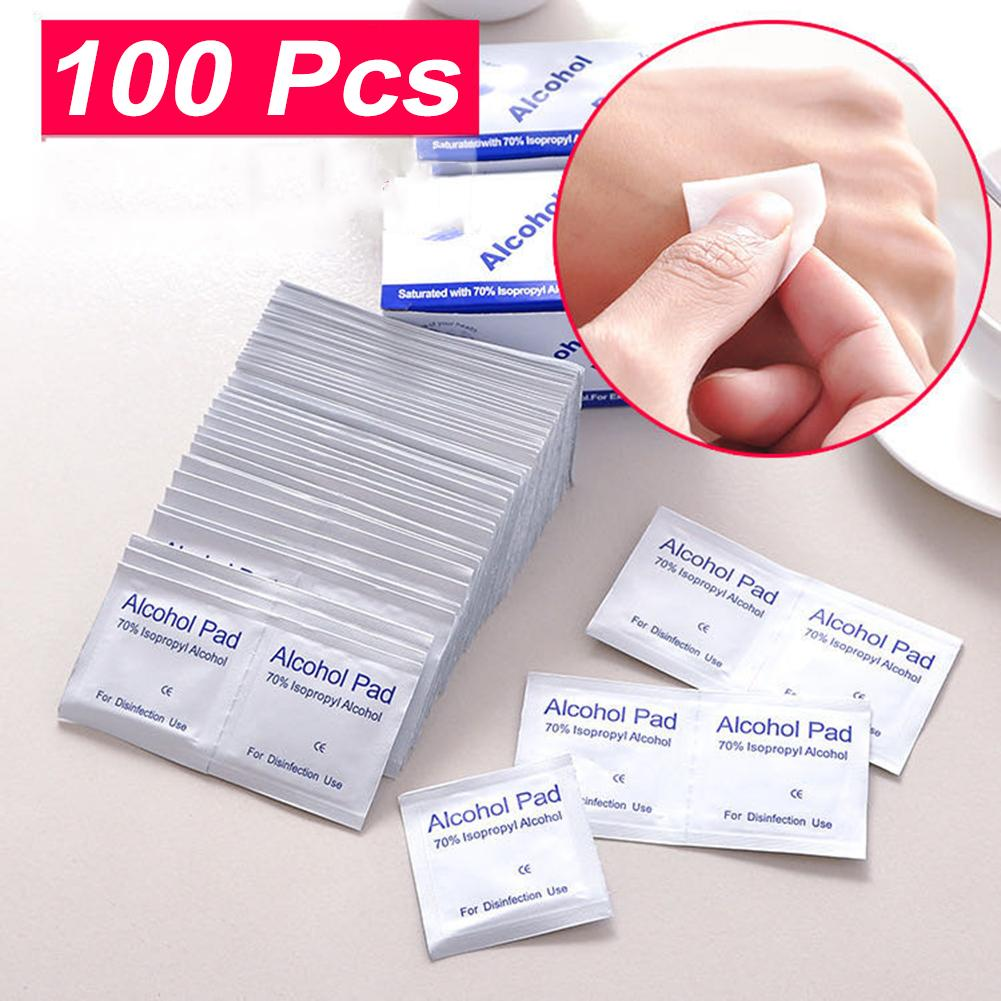 100pcs/lot 75% Alcohol Pad Prep Swap Wet Wipe Pads For Antiseptic Skin Cleaning Care Jewelry Mobile Phone Clean