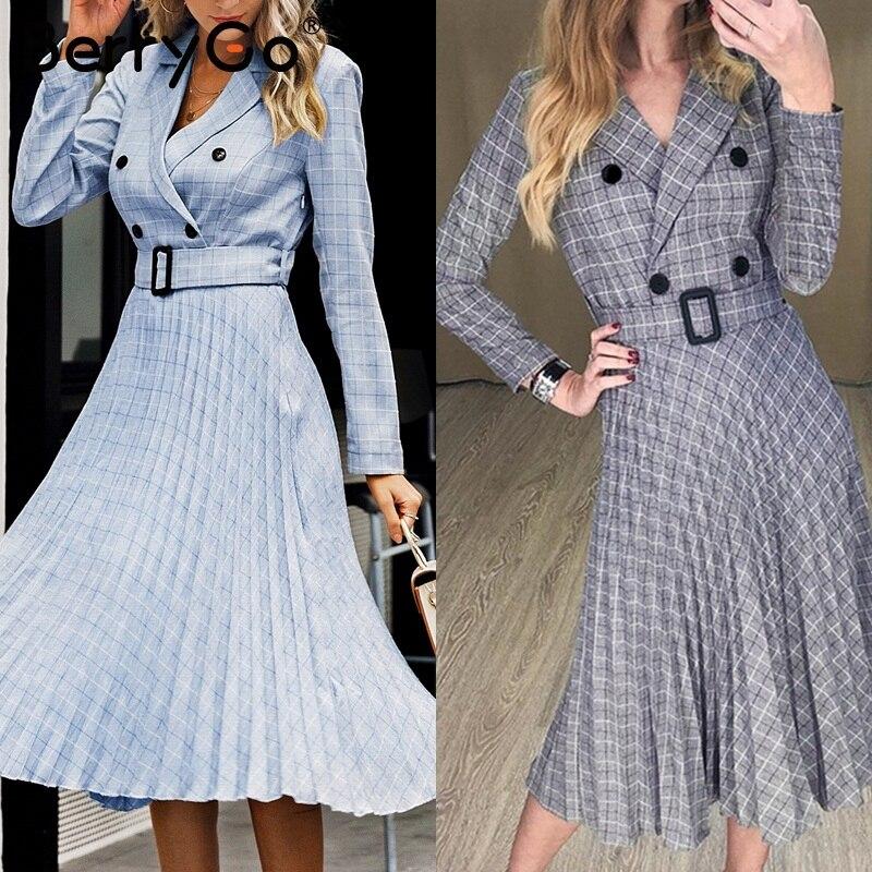 Image 5 - BerryGo Autumn winter women blazer dresses vestidos Pleated plaid  long dress elegant Office ladies high waist belt female robeDresses
