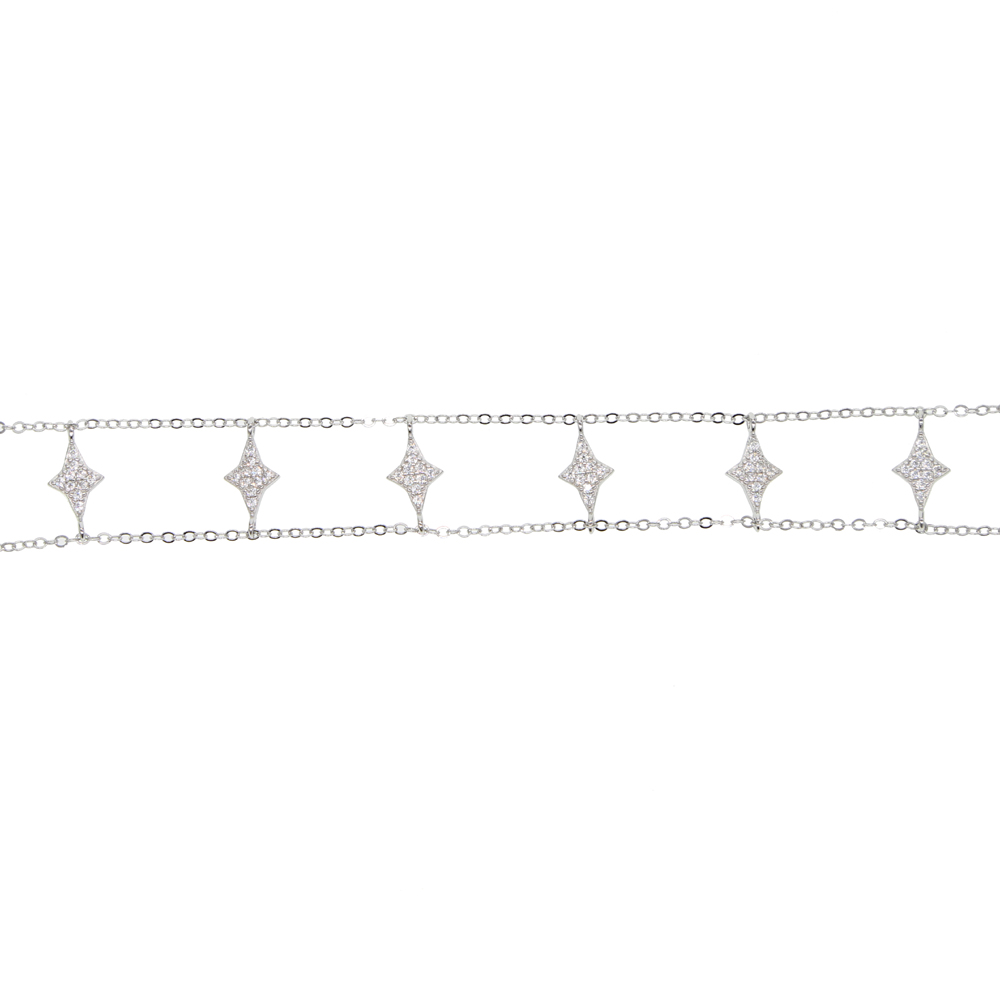 Starburst cz star charm double chain choker necklace 100% 925 sterling silver fine jewelry for women