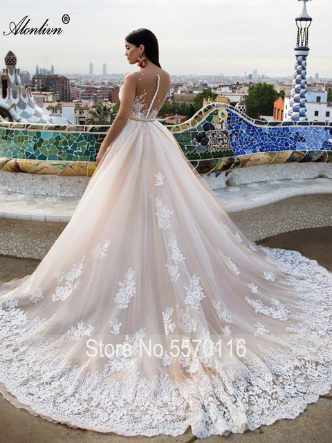 Alonlivn Elegant 2 In 1 Wedding Dress Champagne Tulle With Gold Belt Removable Train Appliques Lace Sleeveless Bridal Gowns 2