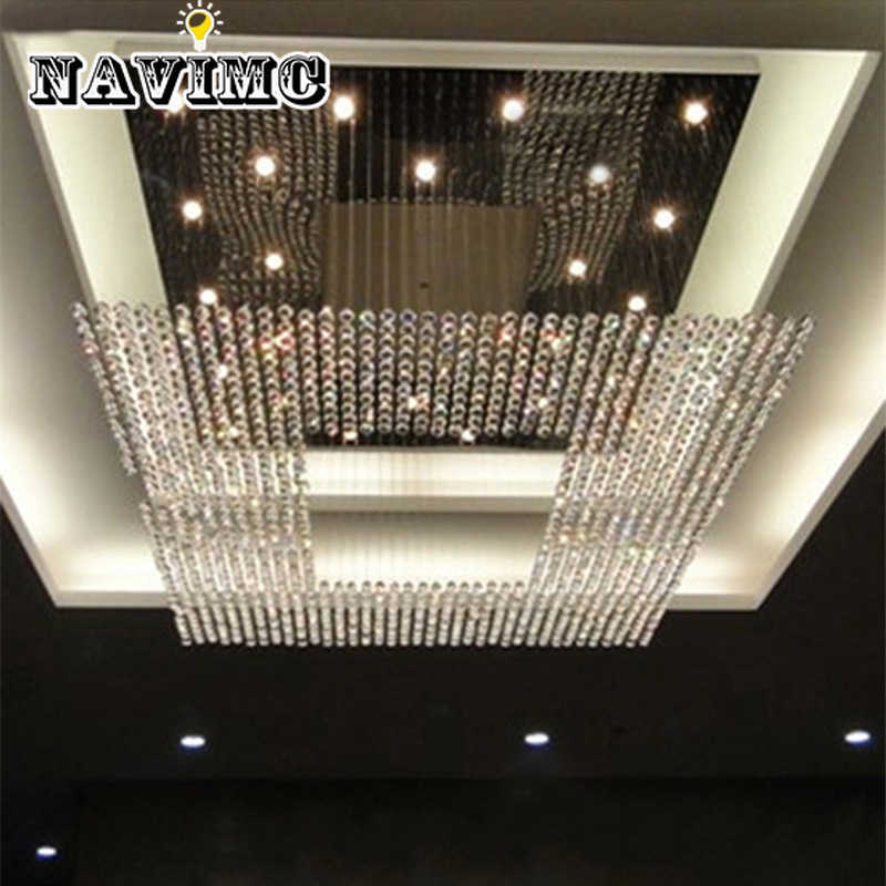 Modern Luxury Square  Crystal Stainless Steel Chandelier for Conference Room Hotel Lobby