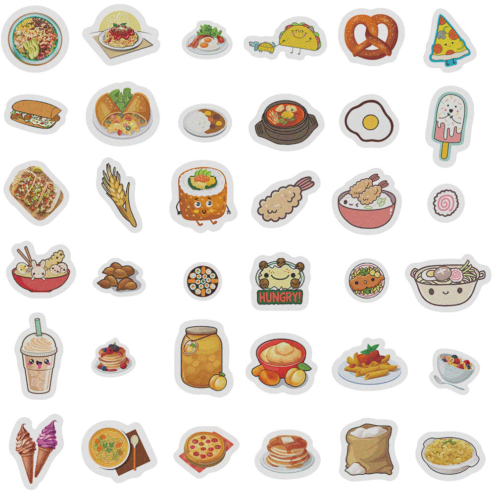 Japanese paper hand account sticker package, food, account book, diary, DIY decorative stickers, 40PCS diary stickers 7