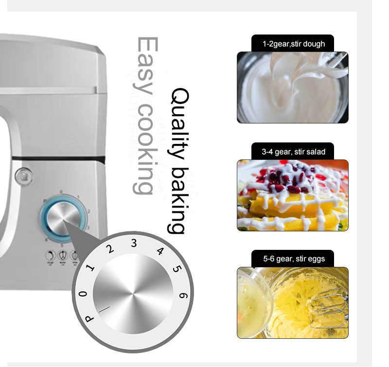 Aço inoxidável comercial 1500 w poderoso misturador de massa doméstica misturador comida elétrica 7l ovo creme salada batedor bolo mixer