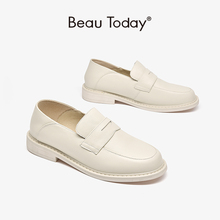 BeauToday Loafers Women Cow Leather Penny Shoes Moccasin Round Toe Slip On Casual Lady Shoes Handmade 21461