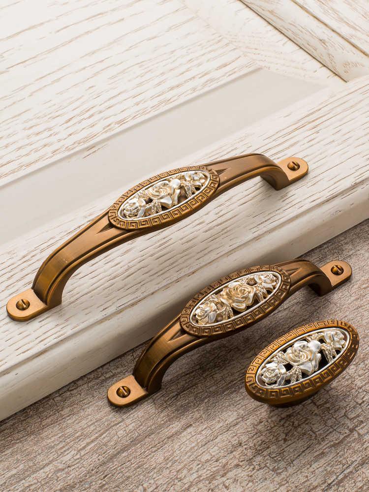 Kapı Kolları Amerikan antika sarı mobilya donanım kolu avrupa şık dolap çekmeceli sandık kapı yeni Çin st
