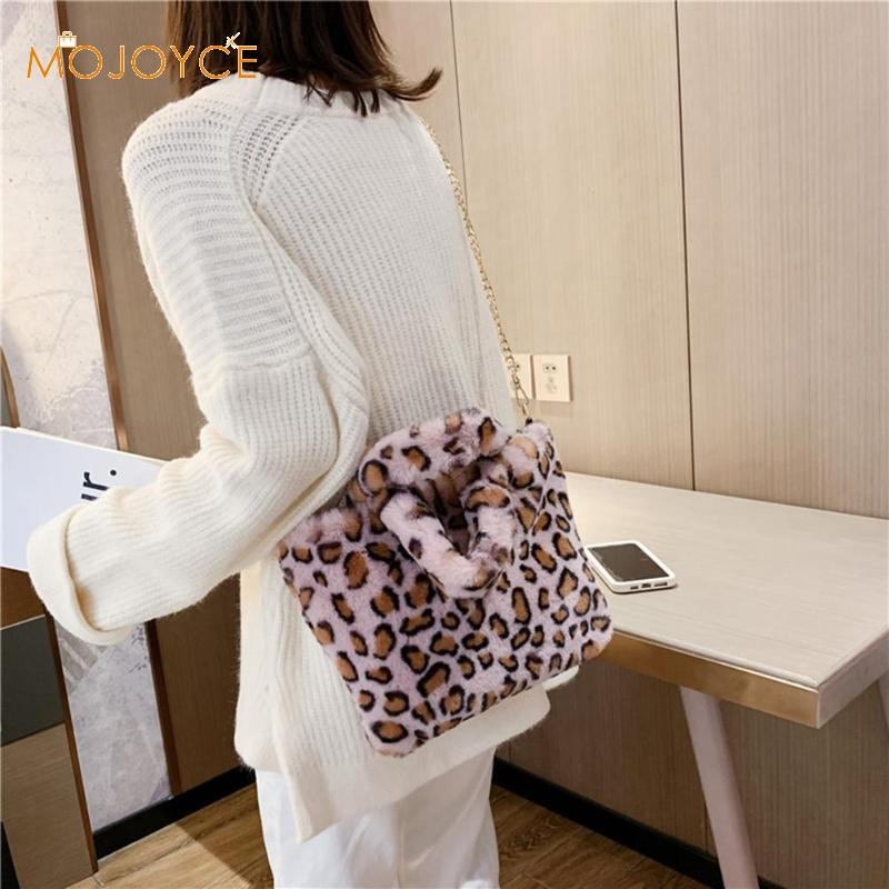 New Women Winter Faux Fur Shoulder Bag Handbag Lady Leopard Print Handbag Plush Totes Messenger Handbag Tote Bag Dropshipping