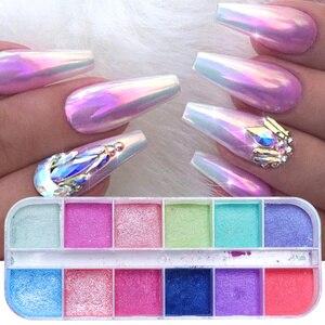 Image 5 - Polvo de uñas cromo de 12 rejillas para inmersión, Polvo de pigmento de colores, purpurina de perlas para decoración de uñas, LAZGF 1