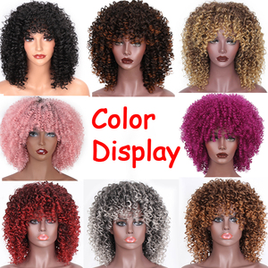 Image 4 - AISI HAIR Afro Kinky Curly Wig Mixed Brown and Ombre Blonde Synthetic Wig Natural Black Hair for Women Heat Resistant Hairs