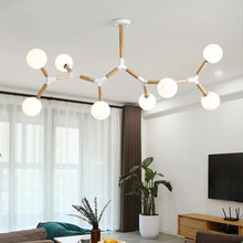 Creative Wooden Chandelier with glass bubble chandelier Sptnik Spider Lighting Fixtures