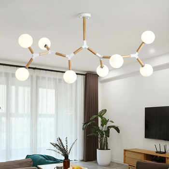 Creative Wooden Chandelier with glass bubble chandelier Sptnik Spider Chandelier Lighting Fixtures - DISCOUNT ITEM  30% OFF All Category