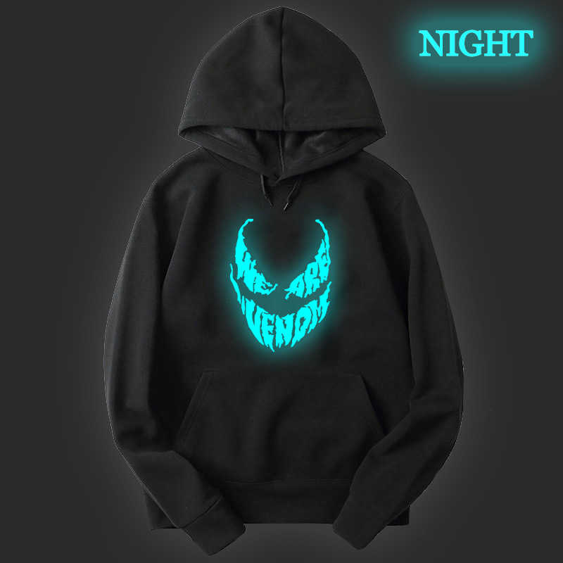 Luminous Men Women Kids Venom Hoodie Boys Girls Velvet Coat Venom Printed Casual Teens Hoodies Outerwear Hooded Sweatshirt