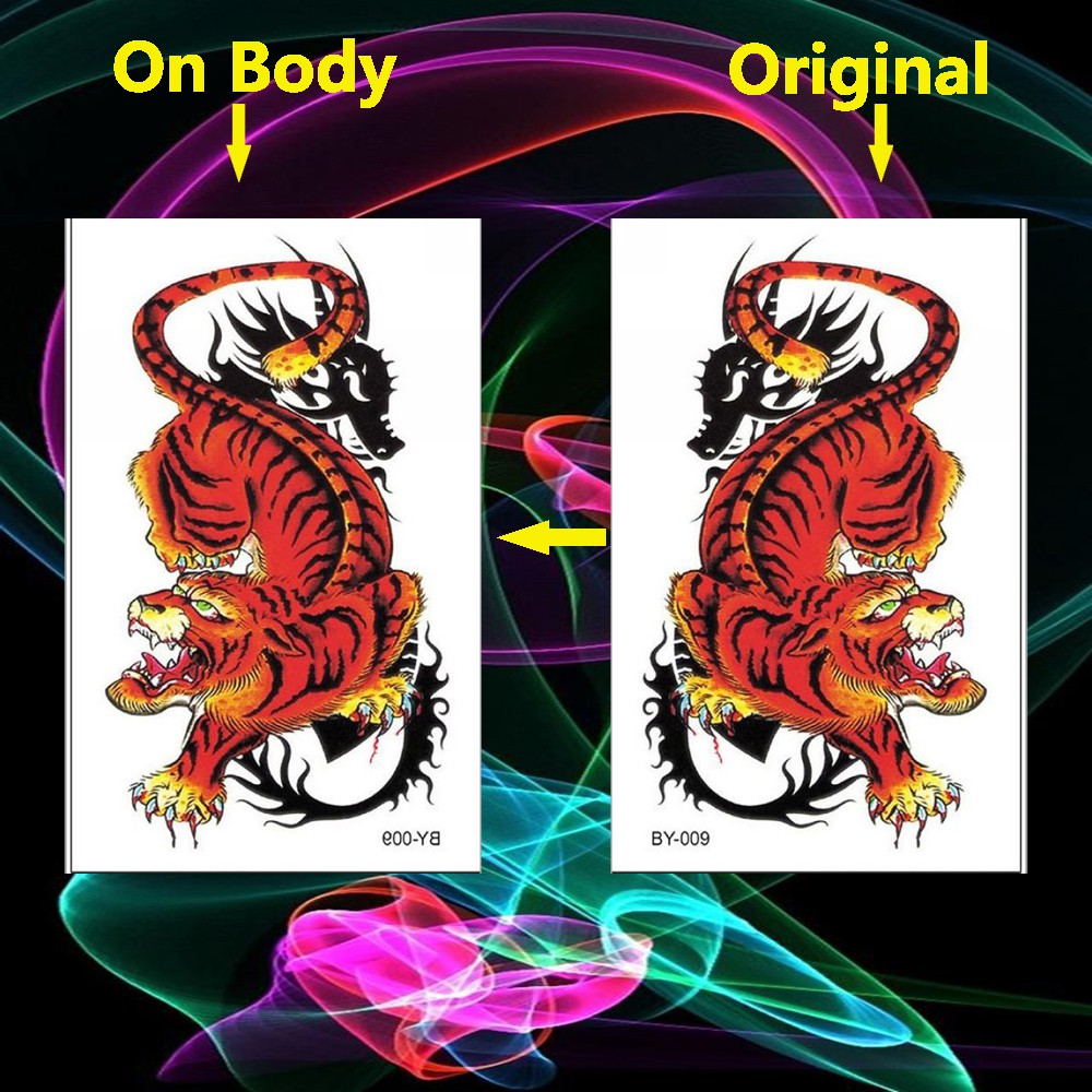 Waterproof Temporary Tattoos Stickers Anime Monster Fake Tatto Tiger Flash Tatoo Body Art Hand Back Foot Tattoo Men Animal Temporary Tattoos Aliexpress