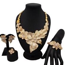 Dubai Bộ trang sức nữ thời trang Vòng cổ bộ Nữ Vòng Cổ VÒNG TAY vàng Châu Phi nữ Bộ trang sức