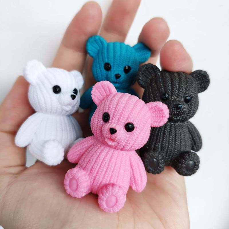 Kawaii Mini Teddy Resin Bear Accessories Doll House Decoration Miniature Bear Model Dollhouse Toys For Kids DIY Party Gift