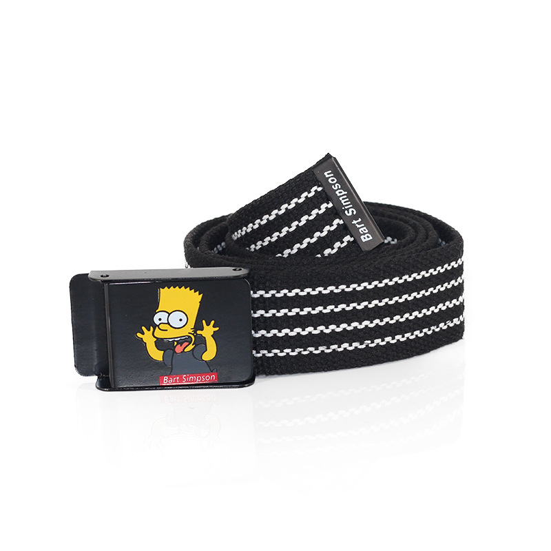 Women Suitable For Leisure Canvas Belt Bart Simpson Men Belt Boy Automatic Buckle Travel Accessories Girl Trend Leather Belt Men