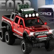 Новинка, игрушечный грузовик, 1:32, большая модель, игрушечный автомобиль для F150 Raptor, звуковой светильник, раздвижной автомобиль с мотоциклом для детей, игрушки, подарки