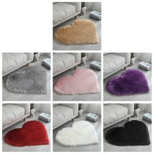 Love Heart Shape Fur Rugs Artificial Wool Sheepskin Baby Room Bedroom Soft Area Mat Long Hairy Rug Blue White Pink Shaggy Carpet(China)