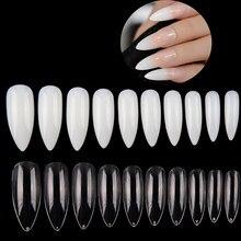 Faux ongles ovales stiletto longs, 500 pièces + 100 pièces, manucure, extension complète en forme d'amande, nouveau Style, pointes transparentes/naturelles