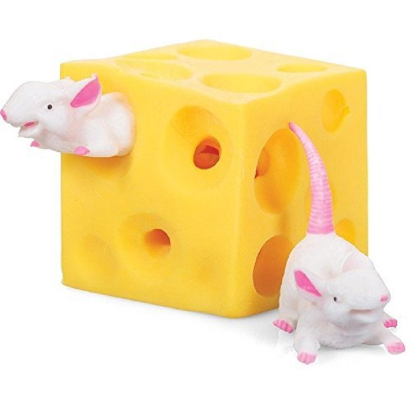 Funny Mice and Cheese finger Squeeze Toys Slime Extrusion Stretchy Mice Hide In Cheese Hole Block Latex Stressbusting Fidget Toy(China)