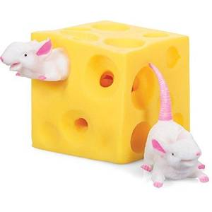 Funny Mice and Cheese finger Squeeze Toys Slime Extrusion Stretchy Mice Hide In Cheese Hole Block Latex Stressbusting Fidget Toy