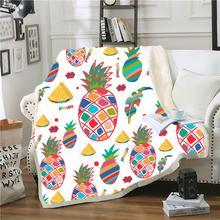 Фланелевое Одеяло с красочными фруктами Флисовое одеяло ананасом