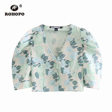ROHOPO Puff Sleeve Floral Crop Blouse Buttons Fly Autumn Ladies Chic Short Top Shirt #9261