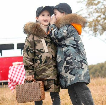 Children girl and boys down jackets winter new Camouflage print thicken down coats teenage outerwear kids tops ws1224