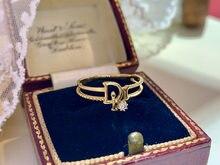 18K import Solid Yellow Real Gold Jewelry(AU750) donne lettere semplici personalità della moda All-match Diamond Ring Lady