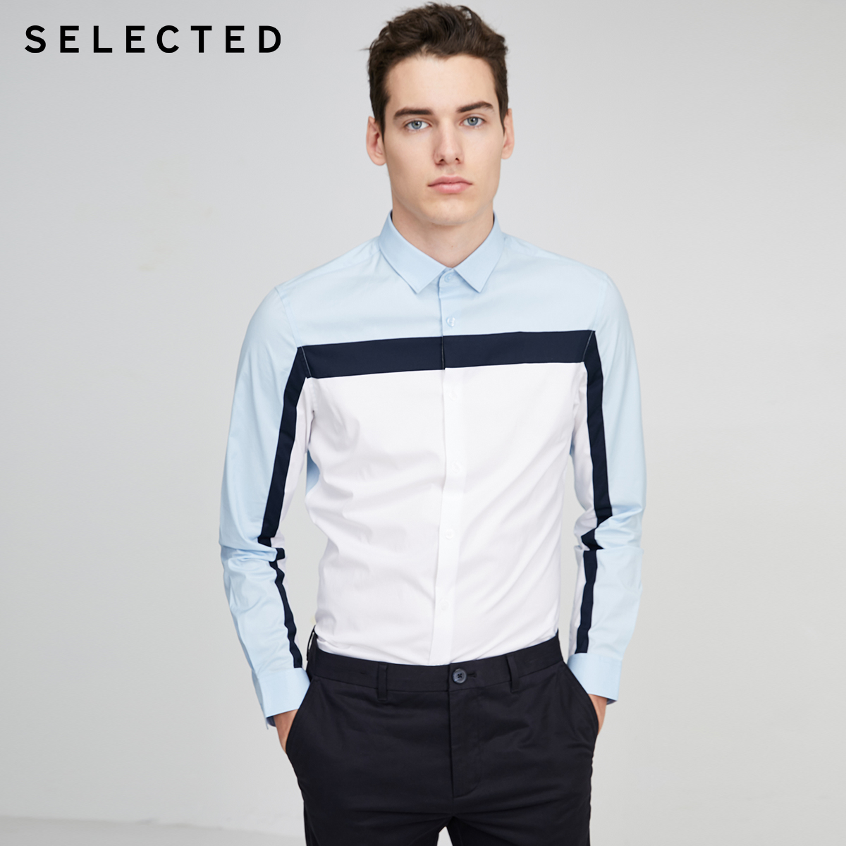 SELECTED Men's Slim Fit Assorted Colors Striped Long-sleeved Shirt S|420105511
