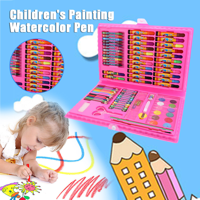 Image 5 - New Sale 86 Pcs Children Painting Tools Art Supplies for Drawing with Watercolor Pen Ruler Eraser SharpenerCrayons   -