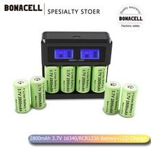 Baterias recarregáveis 2800 v li-ion, 3.7 mah, cr123a, bateria + carregador lcd para lo, câmera de segurança para 16340 cr123a 16340 mah bateria